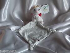 "Doudou chat Marie blanc,"" Sweet Marie ""mouchoir blanc/gris, noeud, Disney Baby"