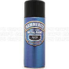 Smoothrite Metal Paint Satin Black 400ml Aerosol Spray Can Hammerite HAM5084778