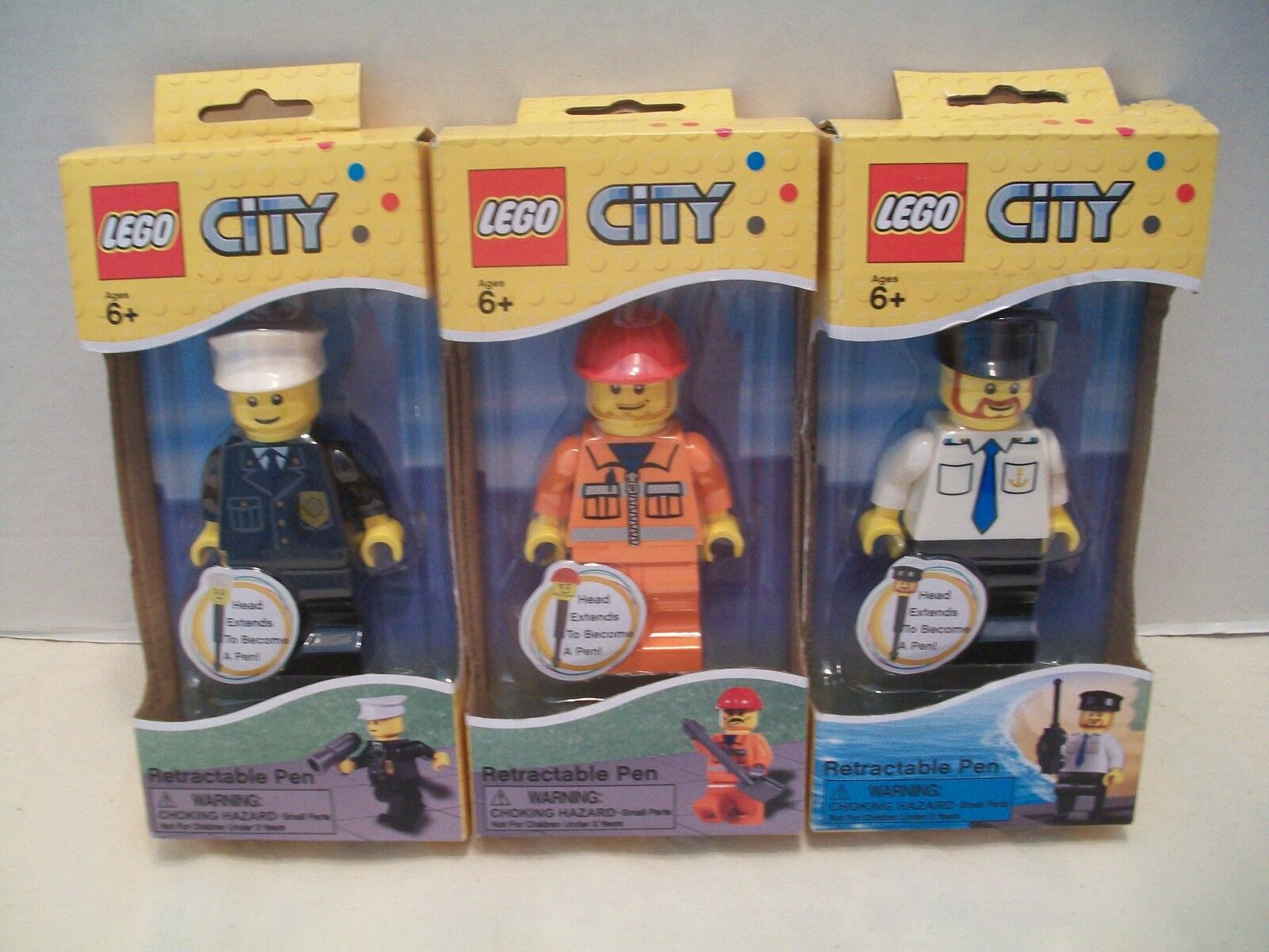 Lego  LGO2221- LGO2222 And  LGO2223 City Retractable Pens Bundle NIB 2011