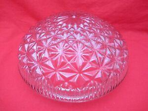 Vintage MCM plafond luminaire rond verre texturé globe abat-jour Clair Matelassé