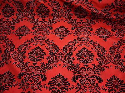 70 yards Red Damask Flocking Velvet Taffeta Fabric 60'' Wide Fabric
