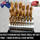 25 pc pcs Piece Titanium HSS Twist Drill Bit Set 1mm - 13mm in Metal Case Metric