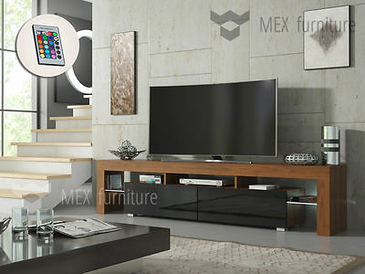 Modern TV Unit Cabinet Stand Walnut Matt and Black High Gloss, FREE LED RGB !
