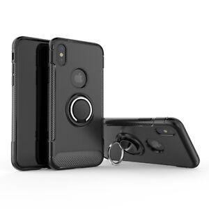 Fuer-iPhone-XS-Max-Ringhalter-Huelle-Case-Magnetische-Halterung-Carbon-Schwarz