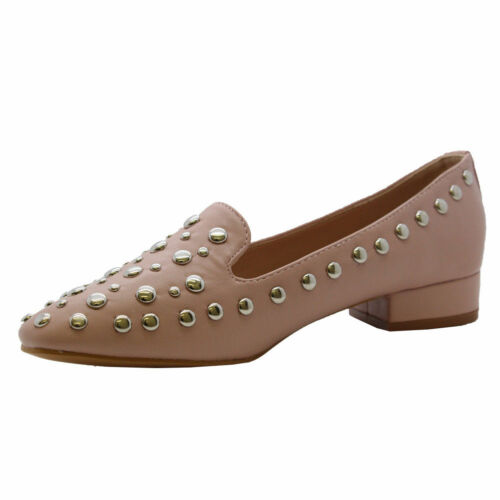 Ladies Womens Flats Block Heels Slip On Studded Loafers Office Pumps Shoes Size