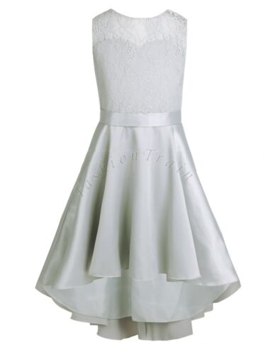 Flower Girl Dress Kids Lace High-low Dress Party Pageant Wedding Bridesmaid Gown