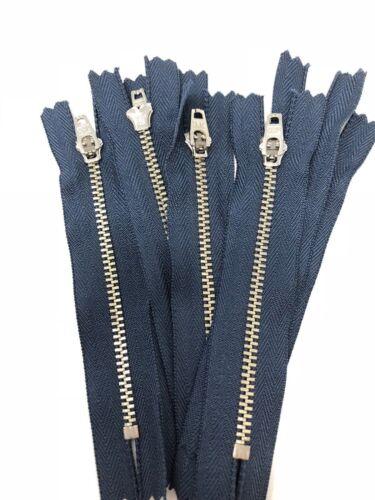 100 pièces YKK Jean Fermeture Éclair 4.5 mm bleu marine avec nickel dents Fermé en bas