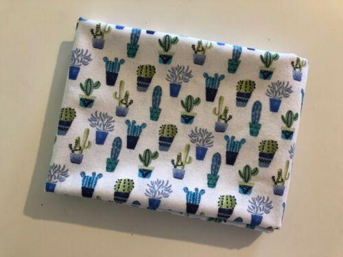 * por Indigo Blue /& Green Cactus en Blanco 100/% Tela De Algodón Percal Premium
