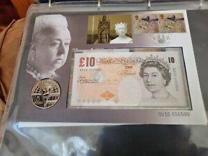 2001 B/UNC £10 NOTE & £5 COIN COVER SET QV10 000590, QUEEN VICTORIA