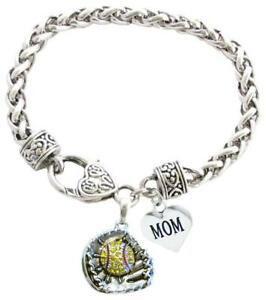 Softball-Glove-and-Ball-Mom-Heart-Clear-Crystal-Silver-Chain-Bracelet-Jewelry