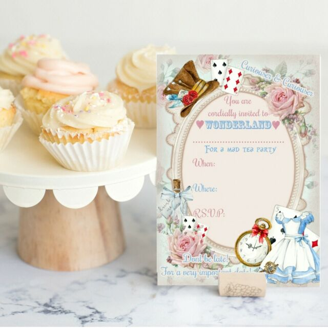 Alice In Wonderland Invitations Party Invites Mad Hatter Tea Party