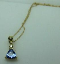 14k Yellow Gold Trillion Cut Blue Tanzanite And White Diamond Pendant and Chain