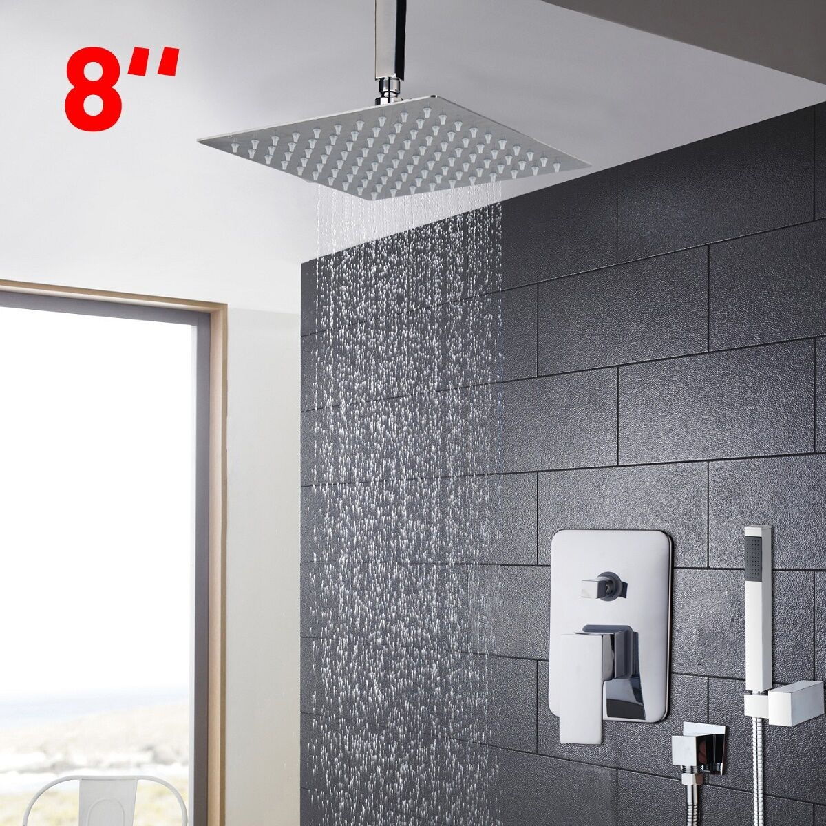 Details About Ceiling Mounted Bathroom Slim Overhead Chrome 8 Rain Shower Faucet Mixer Tap