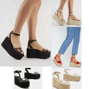 Image is loading Womens-Ladies-Platform-Wedge-Summer-Sandals-Clear-Perspex-