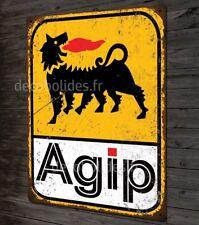 Plaque métal déco AGIP huile pour moteur voitures anciennes italiennes