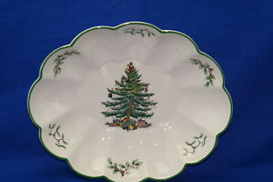 """Spode Christmas Tree Oval Scalloped Bowl, 10 1/2"""" MADE IN ENGLAND   eBay"""