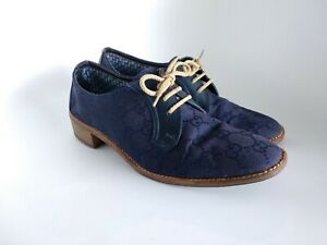 Gucci-Blue-Denim-leather-Monogram-Womens-Derby-Oxford-Lace-Up-Shoes-EU-37-AU-6