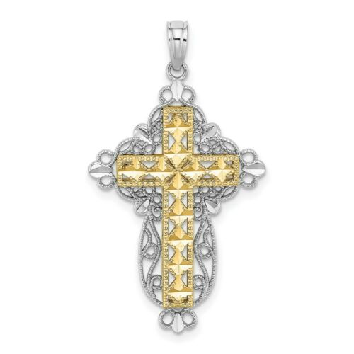 Details about  /14K Two Tone Gold 2-D Filigree Cross Charm Pendant MSRP $422