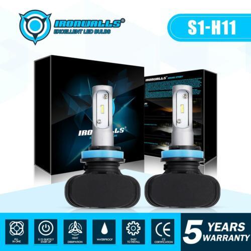 IRONWALLS H11 LED Headlight Kit Low Beam Bulb Super Bright 6000K 1800W 270000LM