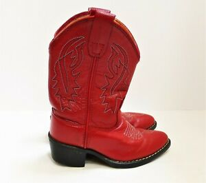 M US 8116 Old West Girls Leather Cowgirl Boot Red 10 D