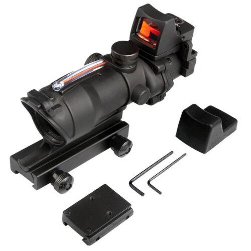Tactical ACOG 4x32 Real Green Fiber Optic Illuminated Rifle Scope w// RMR Red Dot