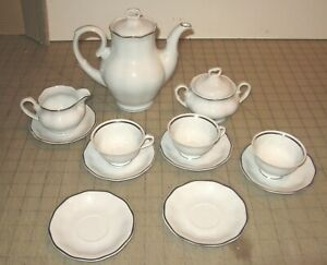 Vintage FAVOLINA  Almost Complete White Bone China COFFEE TEA SET Made in Poland