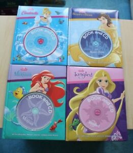 4xDisney-Book-and-CD-Tangled-Cinderella-Beauty-and-the-Beast-The-little-mermaid