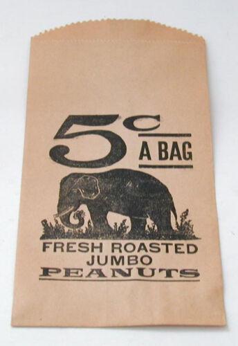 Vintage Unused 5 Cents Roasted Peanuts Paper Bag
