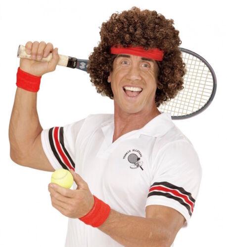 80er Ans tennisstar Perruque avec bandeau brun bouclés afro attirer Messieurs