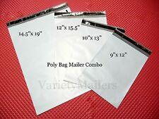 70 POLY BAG POSTAL MAILING ENVELOPE COMBO ~ 4 SIZES ~ FREE EXPEDITED SHIPPING!