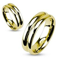 6mm Classic Traditional Gold Ip Wedding Band Stainless Steel Double Dome Ring