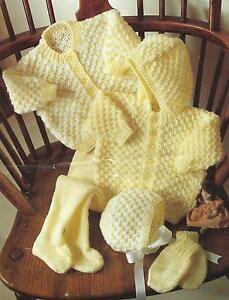 Baby-Jacket-Bonnet-Leggings-Mitts-Knitting-Pattern-DK-16-22-034-254