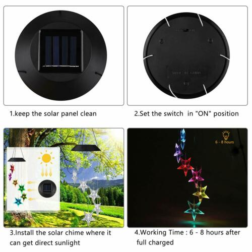 Solar Color Changing LED Wind Chimes Home Garden Decor Lights Star shape Lamp US
