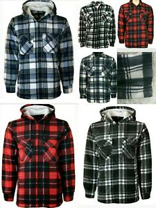 Men-039-s-Fur-Lined-Padded-Shirt-Lumberjack-Flannel-Work-Jacket-Warm-Thick-Casual