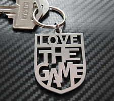 LOVE THE GAME Football Footy Badge Keyring Keychain Key Stainless Steel Gift