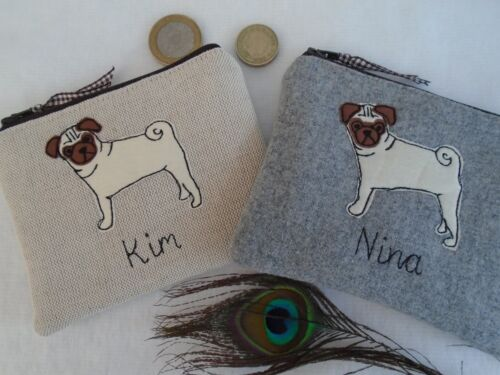 Personalised Coin Purse Pug Dog Choice of Fabric /& Wording linen or wool dotty