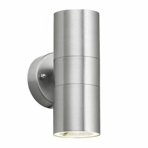 Minisun ip44 modern chrome stainless steel outside garden up down stock photo aloadofball Image collections