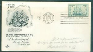 US-FDC-951-150th-ANNI-LAUNCH-FRIGATE-CONSTITUTION-CANCL-OCT-21-1947-Addr