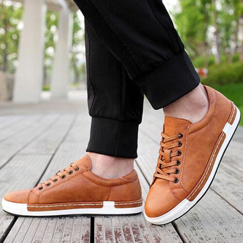 Herren Sneaker Low Schnürschuhe Leder Freizeit Turnschuhe Sports Schuhe Gr 45 48