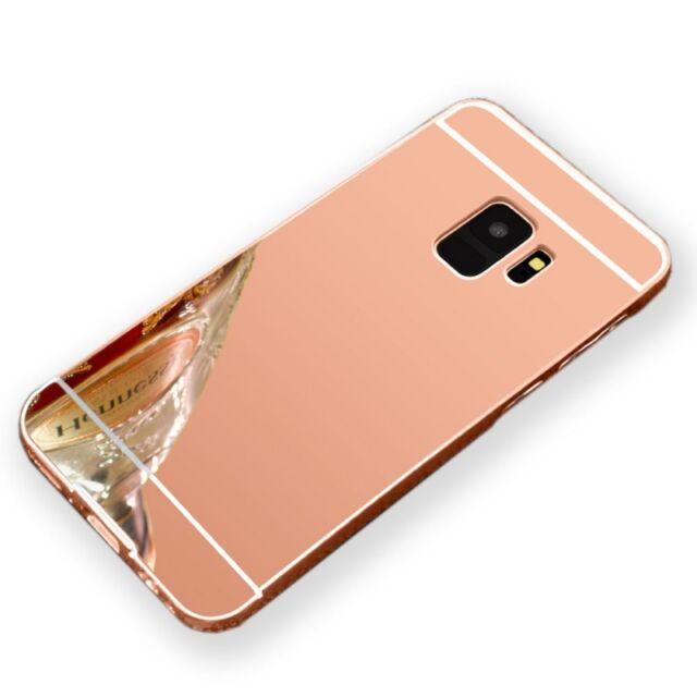 Miroir Pare-chocs en aluminium 2 pièces rose pour Samsung Galaxy S9 Plus g965f