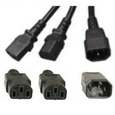 "14""in short Power Y splitter AC Cable/Cord/Wire~Devices/PC/Computer$SH{1C14~2C13"