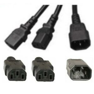 Lot5-14-034-inch-short-Power-Y-splitter-AC-Cable-Cord-Wire-PC-Computer-1C14-2C13
