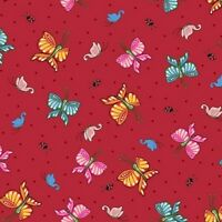 Qt Mottos To Live By 24350 R Red Butterflies Bty Cotton Fab