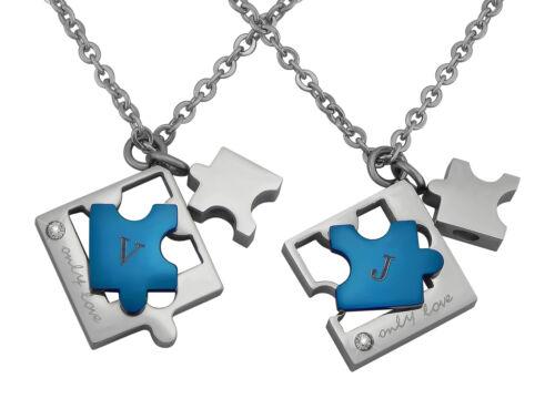 Partner-Ketten Wunsch-Gravur Silber Blau Edelstahl Puzzle Geschenk Weihnachten