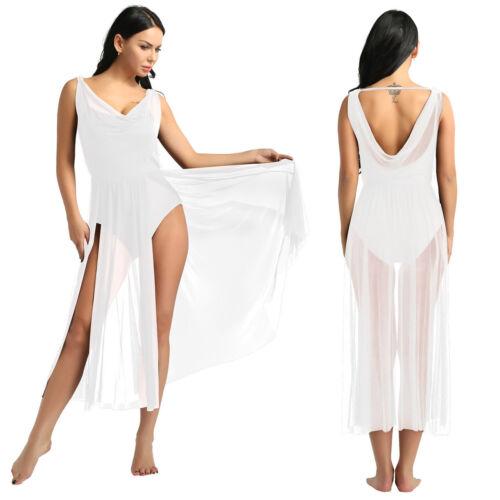 Women Adult Leotard Dress Mesh Split Long Skirts Ballet Gymnastics Dance Costume