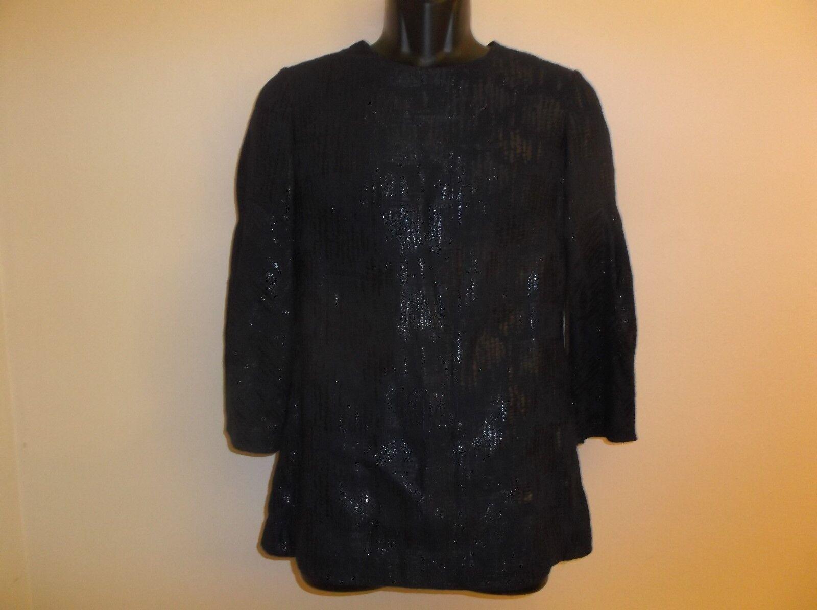 New  Lela Rosa Navy Silk Blend Full Sleeve Blouse Top Größe 8 US
