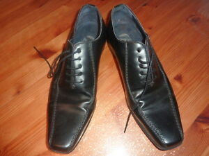BATA-Chaussures-DERBIES-ville-40-homme-noir-mocassins-shoes-CASUAL-cuir