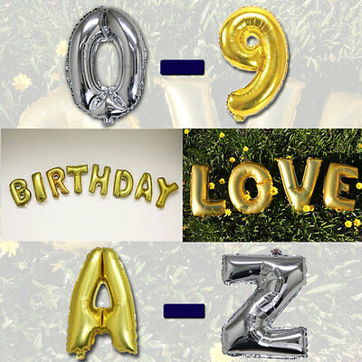 "16/"" Silver A-Z Alphabet Letter /& 0-9 Number Foil Balloon"