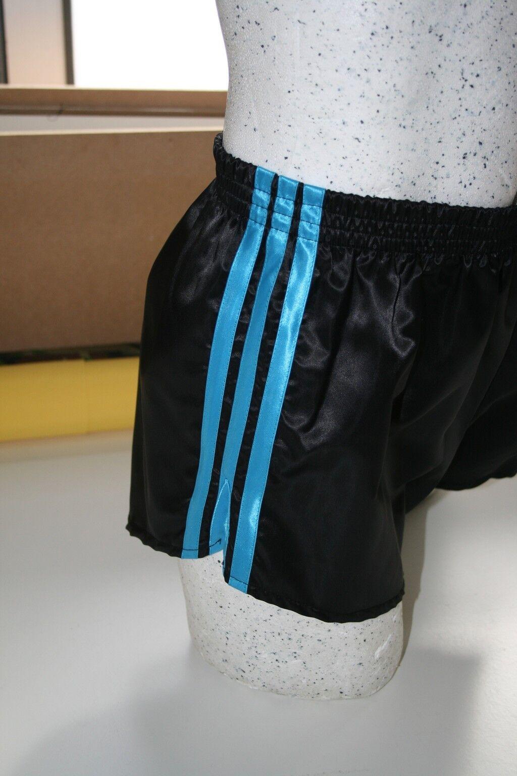 Retro Nylon Satin Fußball Shorts Shorts Shorts S zu 4XL, Schwarz & Türkis     | Lass unsere Waren in die Welt gehen  2fb5e9