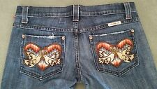 FRANKIE B Jeans Flare Leg Size 6 x 32 Peace Doves with Heart Free Shipping!